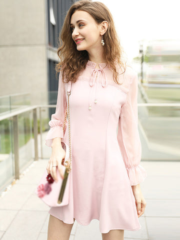 Cute O-Neck Long Sleeve Pink Skater Dress
