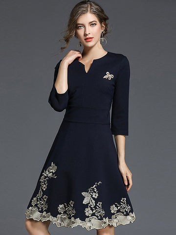 Elegant V-Neck Half Sleeve Embroidery Skater Dress