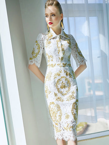 Vintage Turn Down Collar Lace Embroidery Bodycon Dress