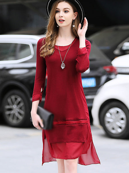 Brief O-Neck Pure Color Knitted Shift Dress
