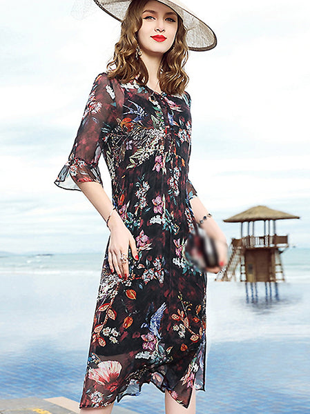 Loose V-Neck Floral Print Shift Dress