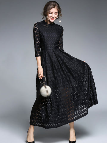Party Stand Collar 3/4 Sleeve Lace Skater Maxi Dress