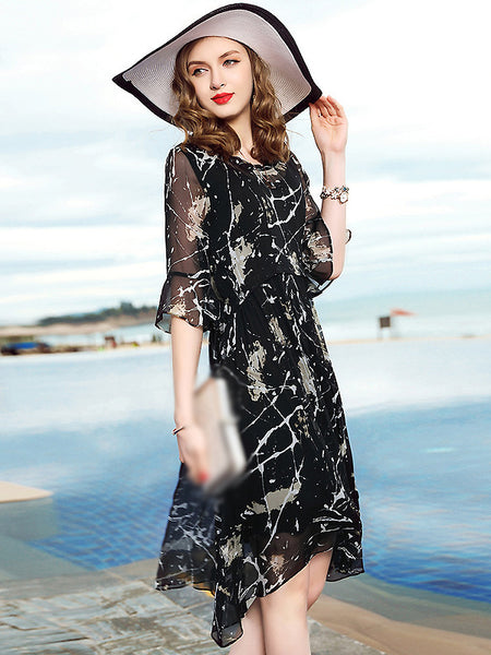 Casual O-Neck Floral Print Two Piece Silk Dress