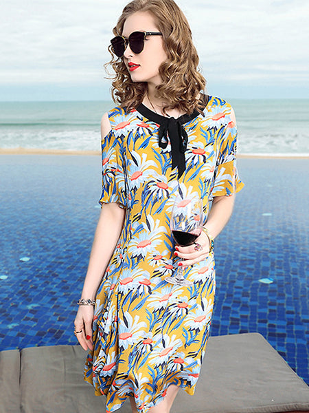Casual V-Neck Short Sleeve Print Falbala Silk Mini Dress