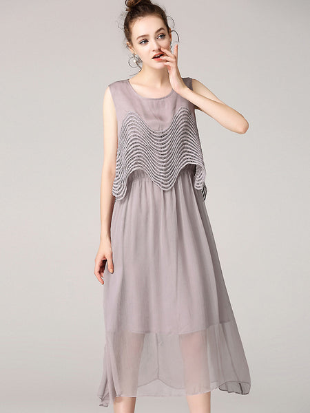 Brief O-Neck Sleeveless Fake Two Piece Dress