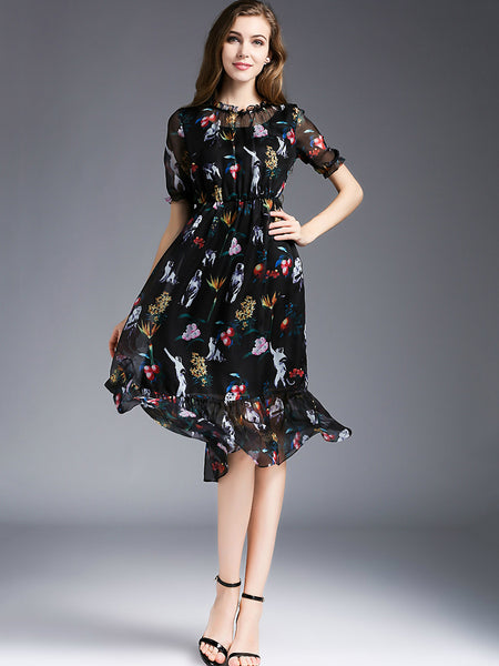 Casual O-Neck Short Floral Print A-Line Dress