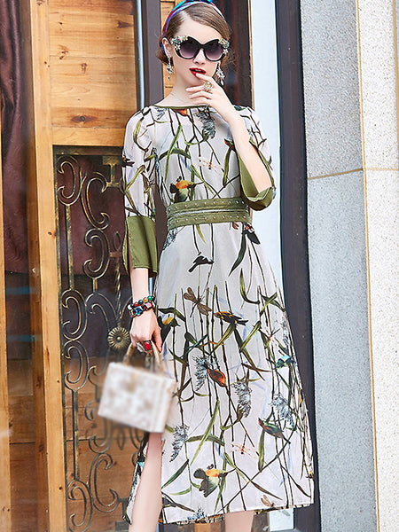 Elegant O-Neck 3/4 Sleeve Floral Print A-Line Dress