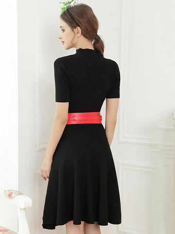 Simple Pure Color Stand Collar Belted Sheath Sweater Dress
