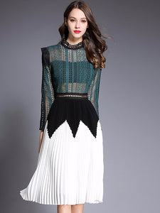 Stylish Lace Patchwork Hit Color Midi Dress