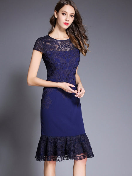 Fashion Lace Patchwork Pure Color Bodycon Dress