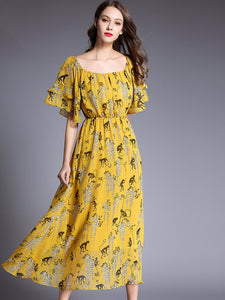 Casual Square Neck Floral Print Maxi Dress