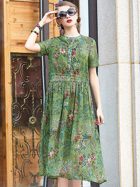 Elegant Floral O-Neck Short Sleeve High Waist Lacing Print Skater Dress