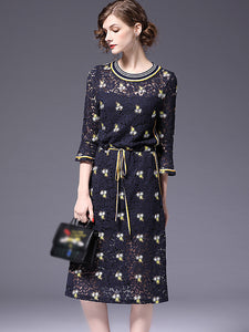 Fashion O-Neck Lace Lace Embroidery A-Line Dress