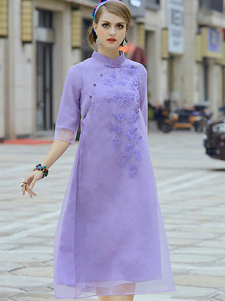 Retro Stand Collar 3/4 Sleeve Embroidery Shift Dress
