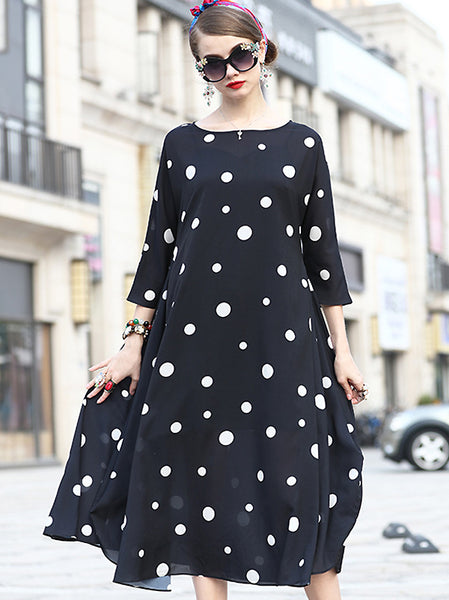 Loose O-Neck Dot Print Big Hem Shift Dress