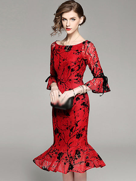 Party Elegant Boat Neck Flare Sleeve Mermaid Lace Print Bodycon Dress