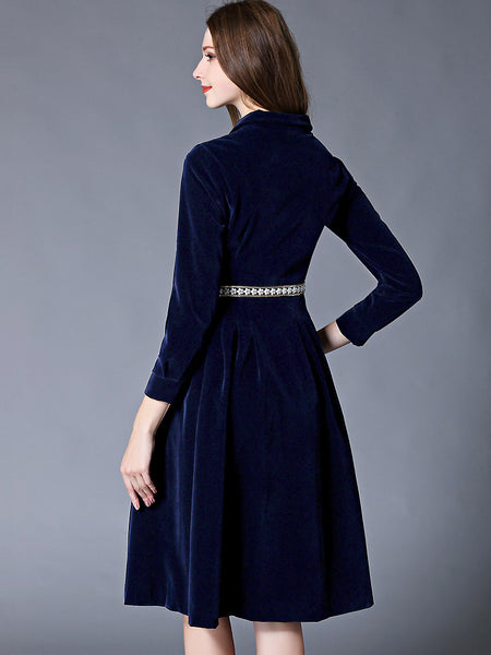 Eleghant Stand Collar Long Sleeve Velour Skater Dress