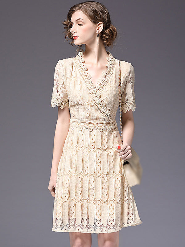 Work Elegant Pure Color V-Neck Lace Short Sleeve Skater Dress