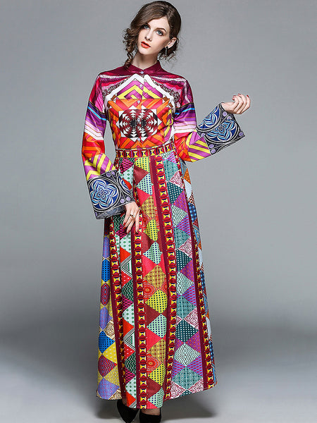 Chic Stand Collar Long Sleeve Floral Print Maxi Dress