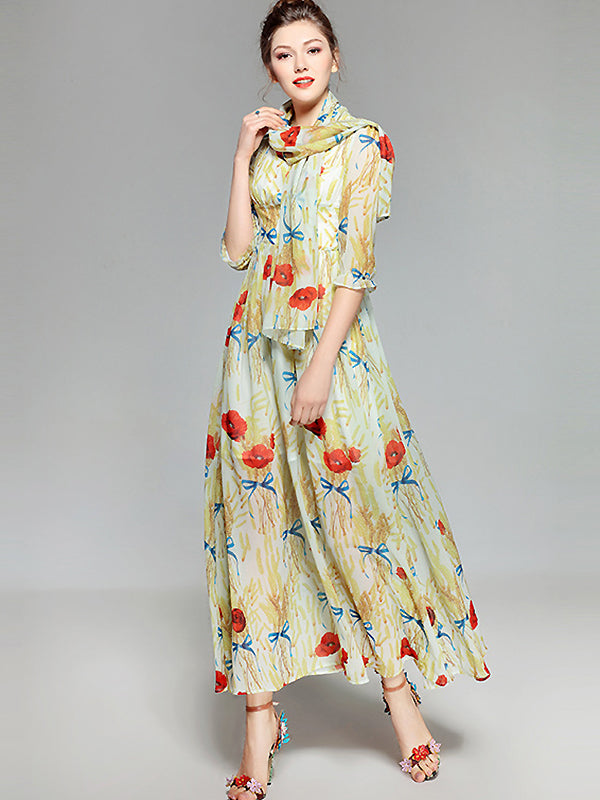 Sweet O-Neck Half Sleeve Floral Print Maxi Dress