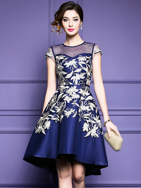 Fashion O-Neck Mesh Embroidery A-Line Dress