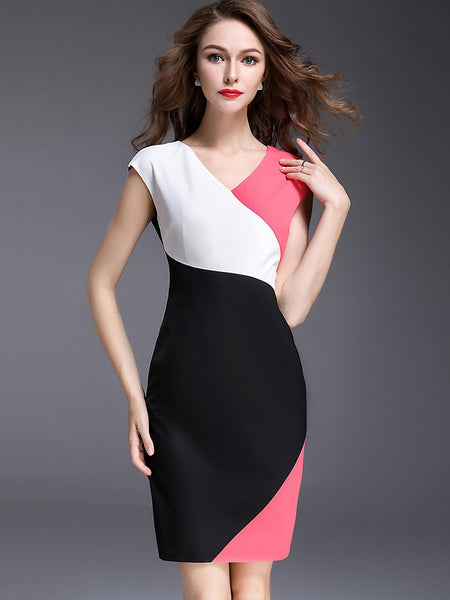 Hit Color Slim Sleeveless Bodycon Dress