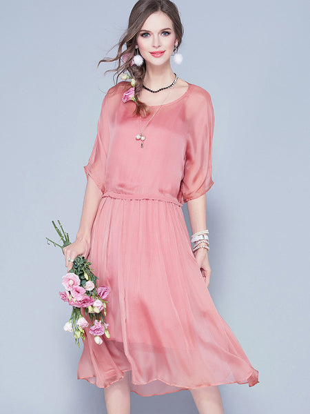 Casual O-Neck 3/4 Sleeve Pure Color Silk A-Line Dress
