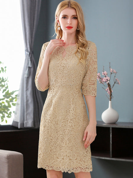 Stylish Hollow Out Embroidery O-Neck 3/4 Sleeve Bodycon Dress