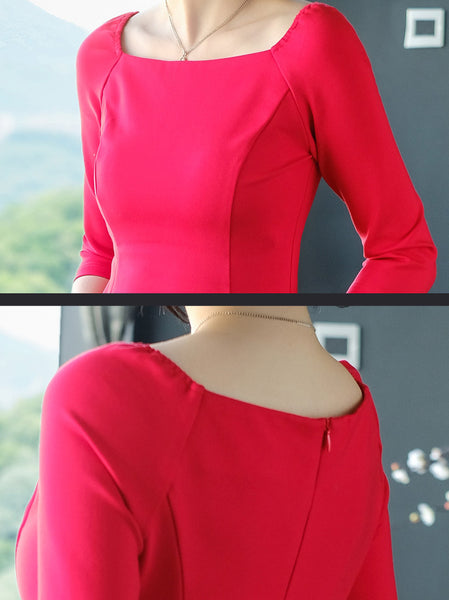 Party Pure Color Square Neck 3/4 Sleeve Skater Dress