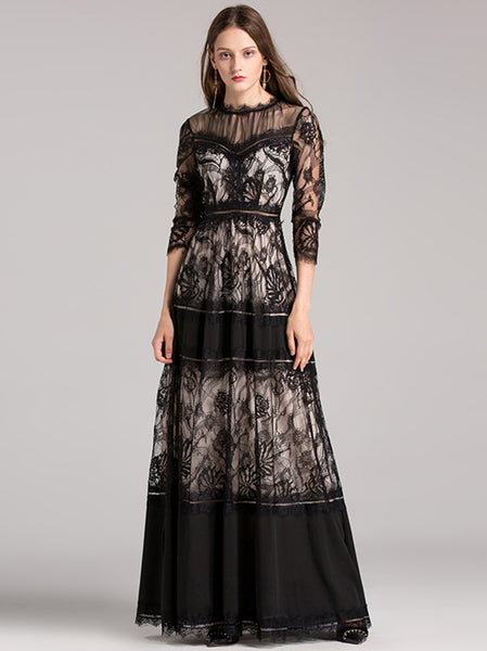 Party Lace Stitching O-Neck 3/4 Sleeve Maxi Dress
