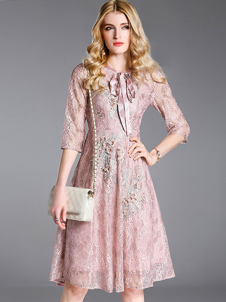 Vintage Embroidery Lace Half Sleeve Lacing Skater Dress