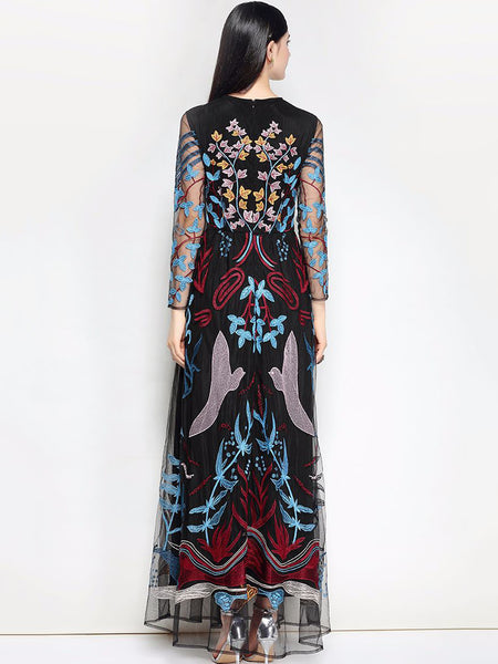 Vintage Embroidery O-Neck Long Sleeve Big Hem Maxi Dress
