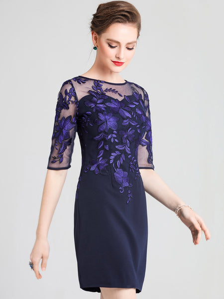 Party Embroidery O-Neck Half Sleeve Mesh Bodycon Dress