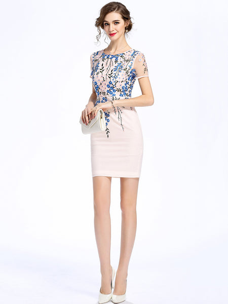 Elegant Floral Embroidery O-Neck Short Sleeve Bodycon Dress