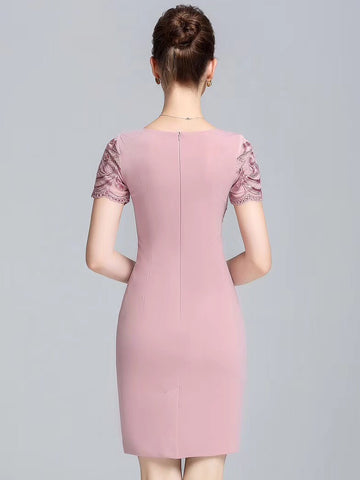 Party Embroidery O-Neck Short Sleeve Paillette Bodycon Dress