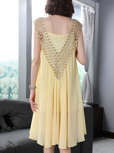 Fashion Stitching V-Neck Sleeveless Beaded Shift Dress