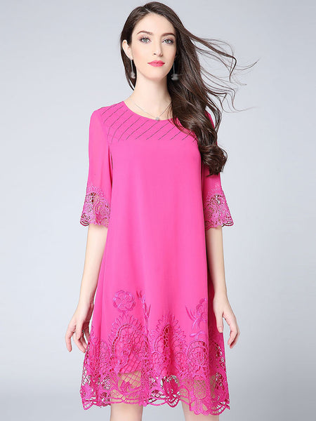 Simple Embroidery Stitching O-Neck Half Sleeve Shift Dress