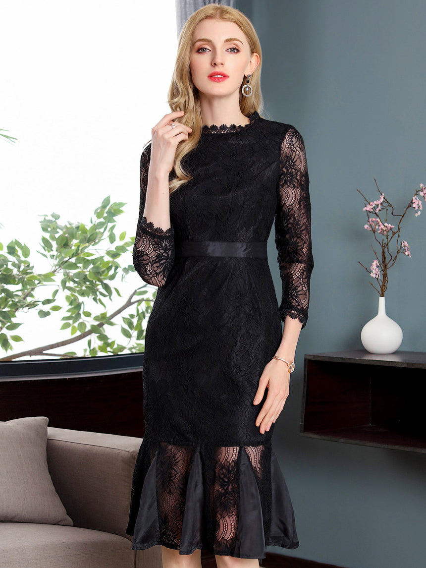 Party Lace O-Neck Long Sleeve Mermaid Bodycon Dress