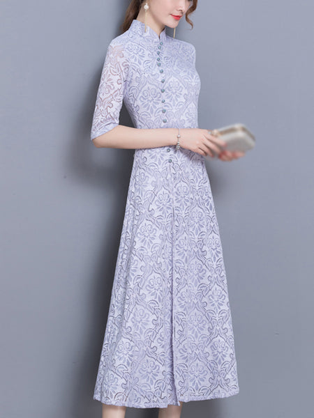 Vintage Stand Collar Half Sleeve Big Hem Cheongsam Skater Dress