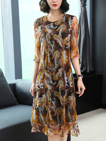 Vintage O-Neck 3/4 Sleeve Button Silk Print Shift Dress