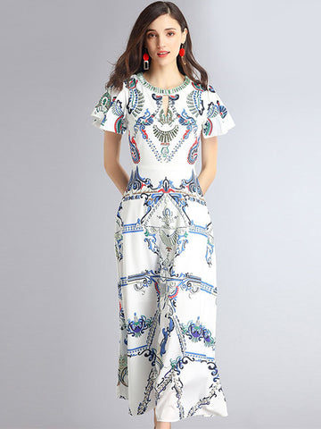 Vintage Hollow Out O-Neck Flare Sleeve Print Maxi Dress