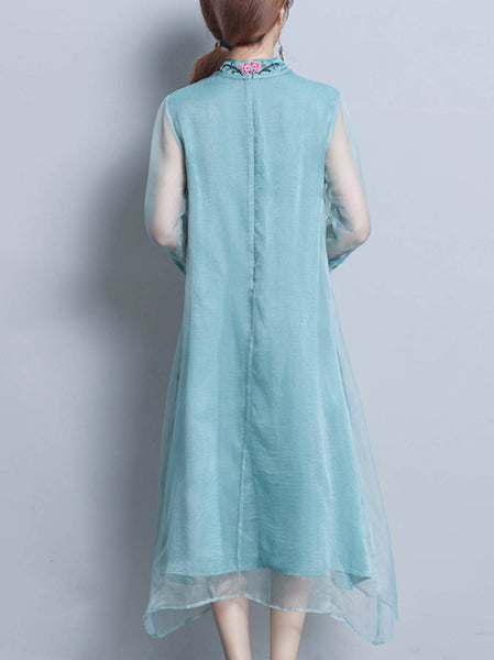 Vintage Embroidery Stand Collar Cheongsam Shift Dress