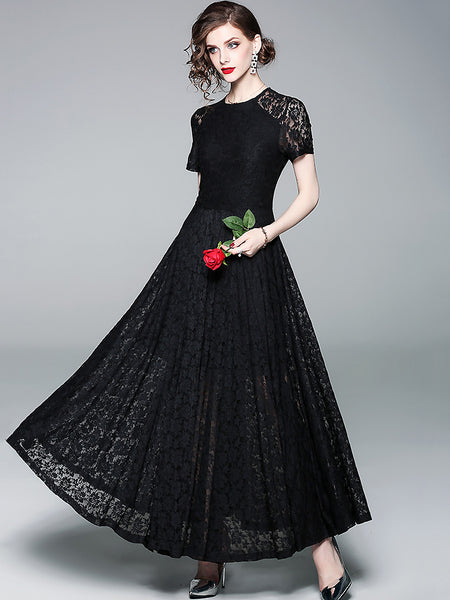 Fashion Lace Hollow Out O-Neck Short Sleeve Maxi Dress
