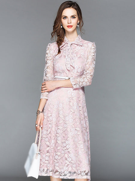 Elegant Lace Embroidery 3/4 Sleeve Belted Skater Dress