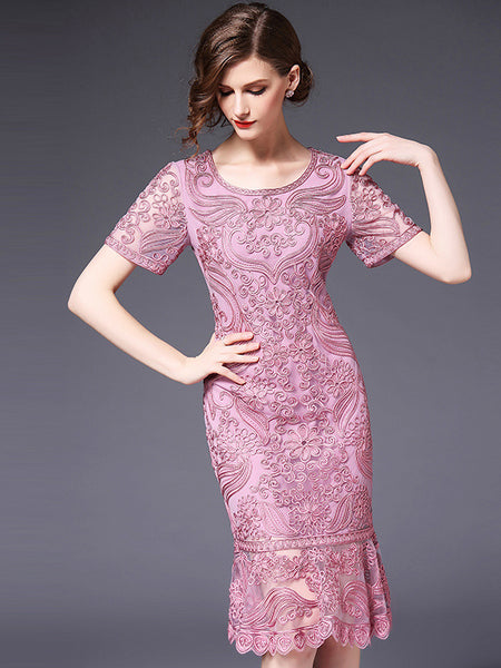 Elegant Embroidery O-Neck Short Sleeve Mermaid Bodycon Dress