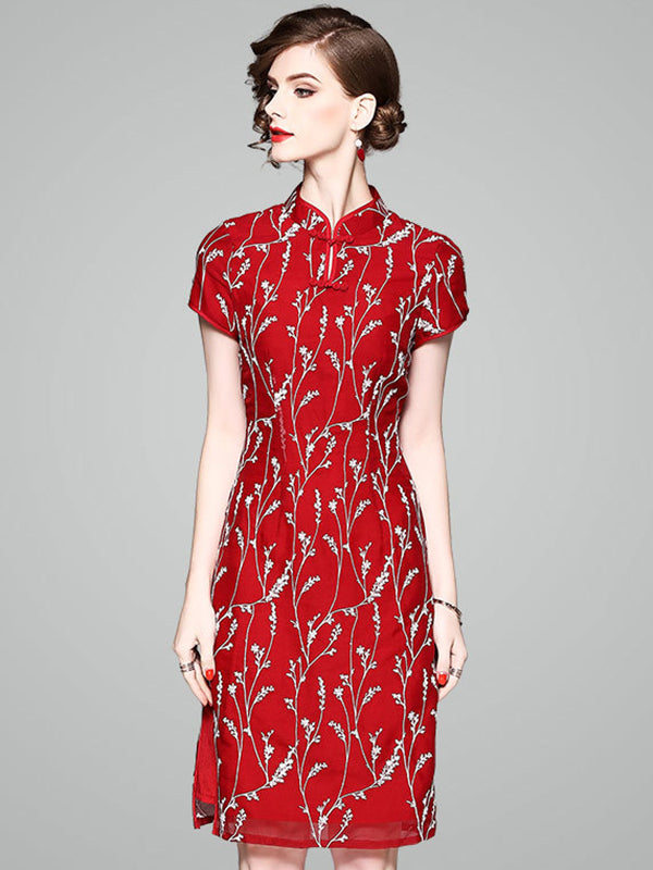 Vintage Embroidery Stand Collar Short Sleeve Slit Bodycon Dress