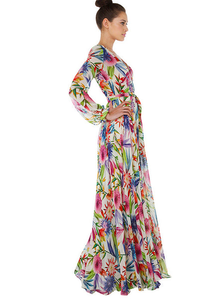 Holiday Floral V-Neck Long Sleeve Big Hem Maxi Dress