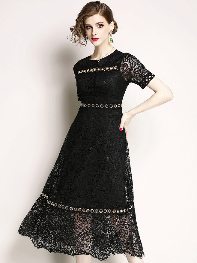 Fashion Lace Hollow Out O-Neck Short Sleeve Metal Button A-Line Dress