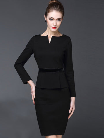 Simple Pure Color V-Neck Long Sleeve Fake Two Piece Bodycon Dress
