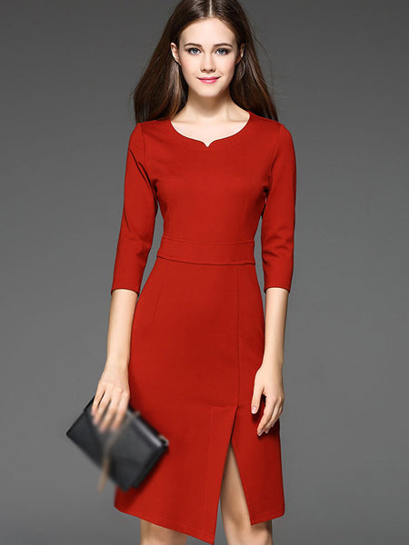 Simple Pure Color O-Neck 3/4 Sleeve Slit Bodycon Dress